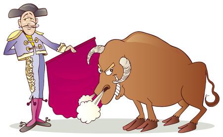 matador: Matador en de stier Stock Illustratie