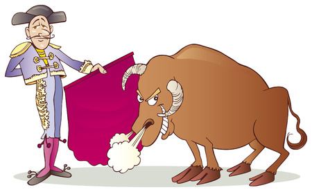 toros bravos: Matador y Bull  Vectores