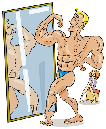 witty: muscular man looking in the mirror