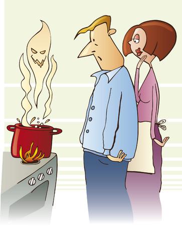 ebullition: famille surpris bouillante soupe toxique