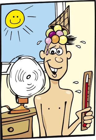 Boy and Hot Weather Vektoros illusztráció