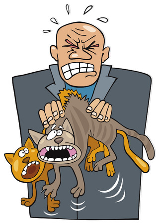 moggie: angry man with cats