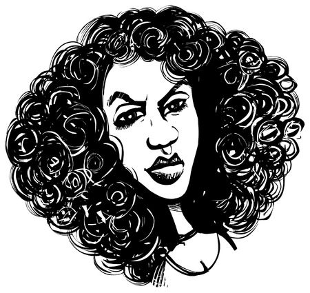 caricature: Woman with curly hair