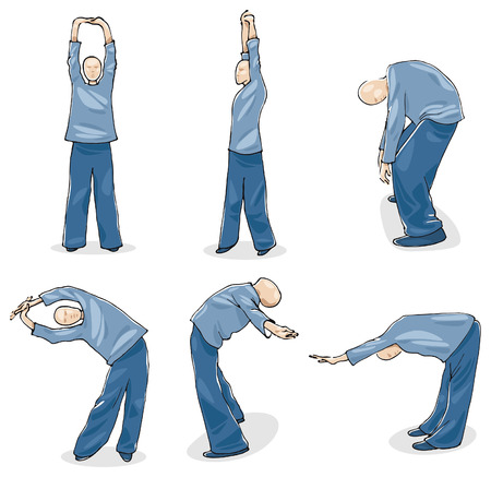 Man oefening Tai Chi Warm-up Vector Illustratie