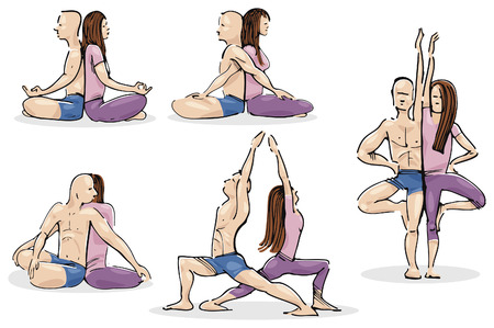 meditation man: Practicing Yoga in Couple Illustration