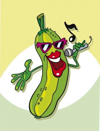 funny cucumber singing Vetores