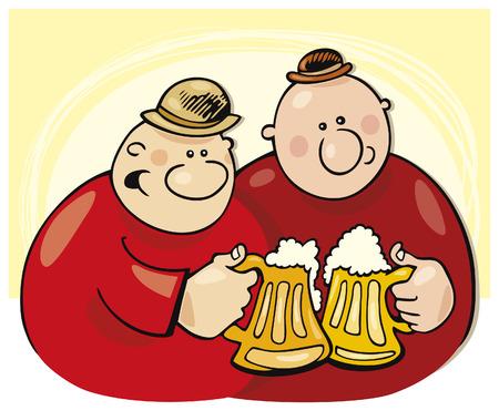drunk cartoon: guys drinking beer