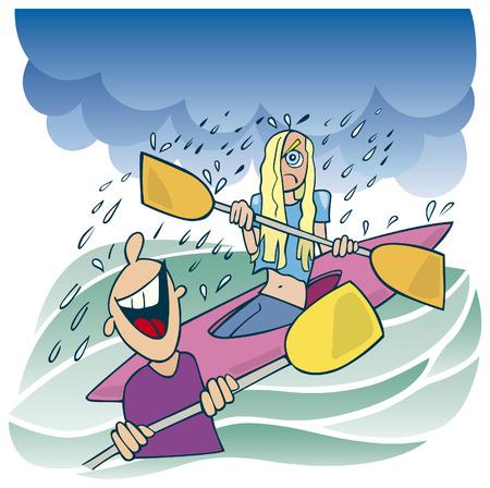 blonde girl in kayak Vector