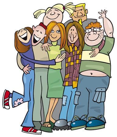 school teens: abrazo de dando de grupo de adolescentes de escuela  Vectores