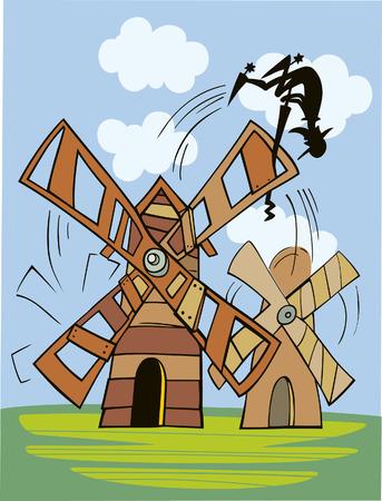 don quijote: Don Quijote y el molino de viento  Vectores