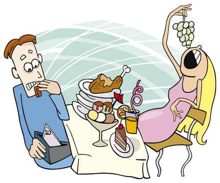 gluttonous girl on date Vector