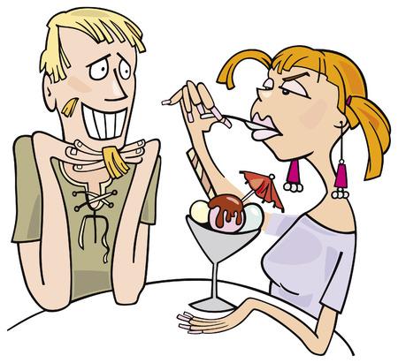 amigos comiendo: chico y chica comiendo helado  Vectores