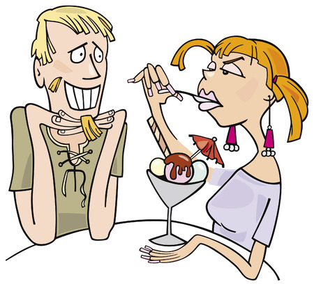 eating ice cream: guy and girl eating ice cream Illustration