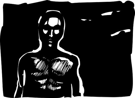 dreary: man contour in shadow