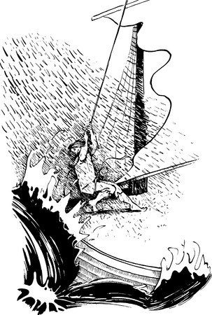 yachtsman: sailor in the storm Illustration