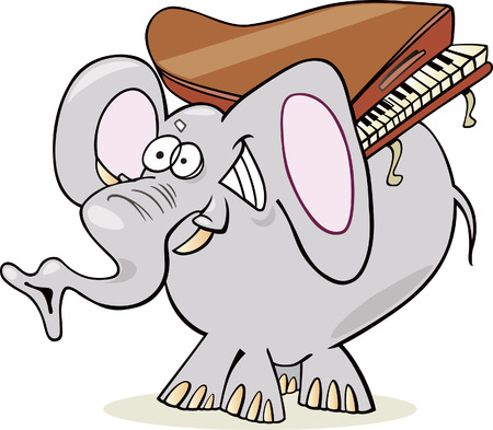 funny elephant with piano Vector