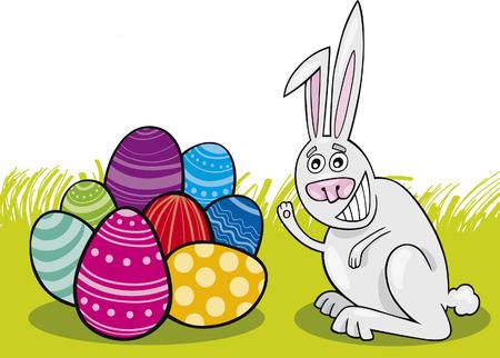 eggshells: Conejo de Pascua con huevos pintados  Vectores
