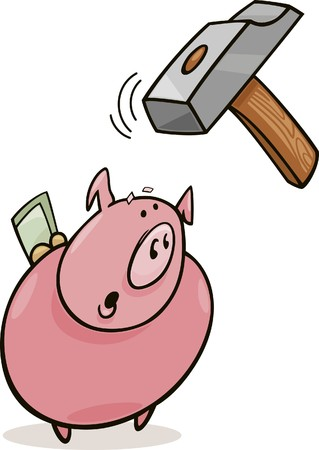 groin: frightened piggy bank and hammer Illustration
