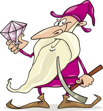 dwarf with diamond Vector