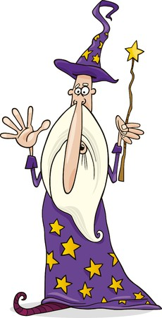 wizard with magic wand Vector