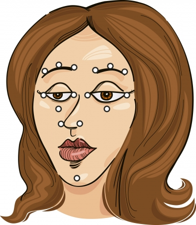 acupuncture: acupressure points on face Illustration
