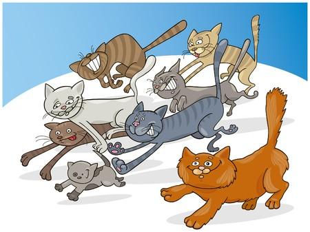 tabby cat: running cats Illustration