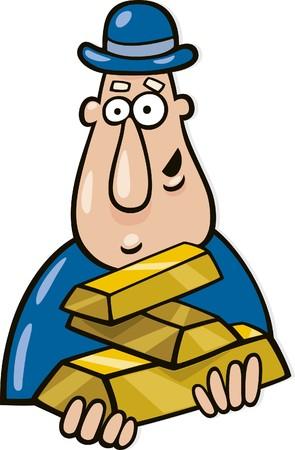 gold bar earn: man with goldbars