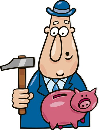 man with hammer and piggy bank Vector