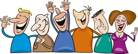 witty: group of cheerful people