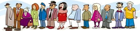 many people: personas en cola  Vectores