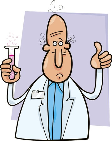 bald man: scientist with vial