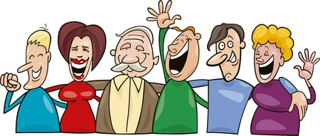 witty: group of smiling people Illustration