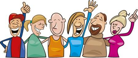 witty: group of joyful people Illustration