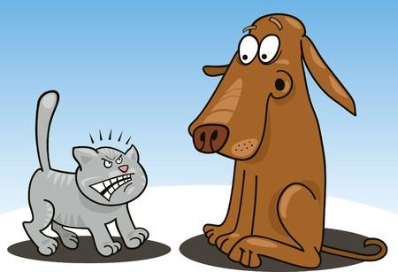 perro asustado: gatito y perro
