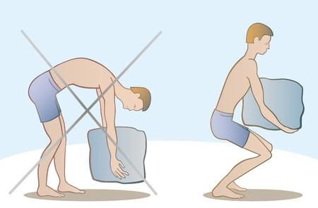 proper: modo corretto e sbagliato per sollevare il peso  Vettoriali