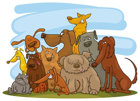 group of dogs Vector