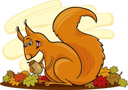 squirrel with nut Vector