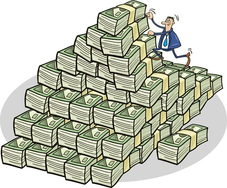 businessman climbing on mountain of money Illustration