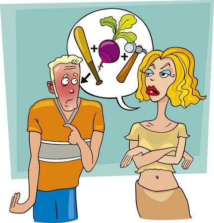 angry woman abuses ashamed man Vector