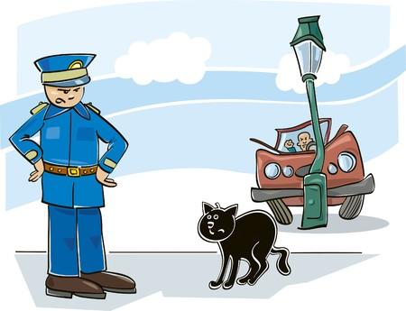 mann bad: schwarze Katze Fluch  Illustration