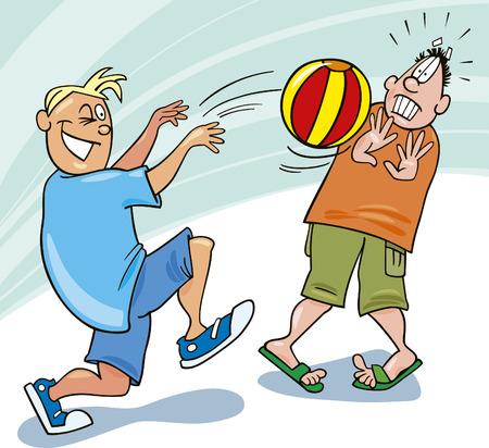 boys playing ball Vector