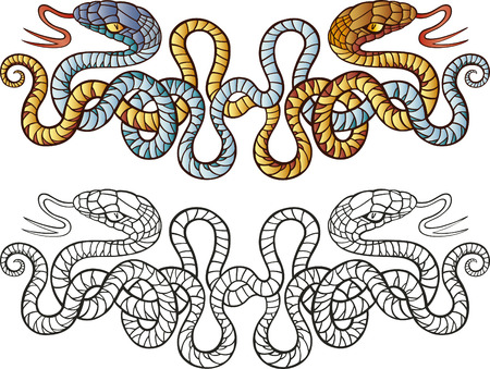 stylistic: snakes tattoo design