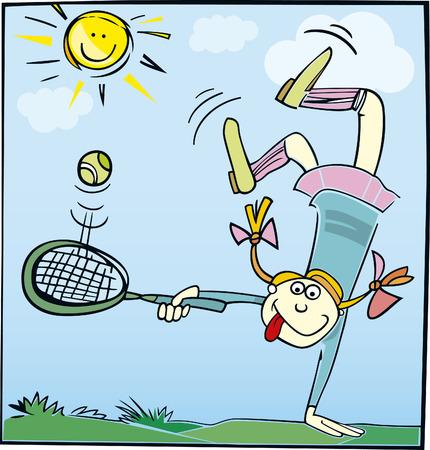 tennis racket: funny little girl playing tennis Illustration
