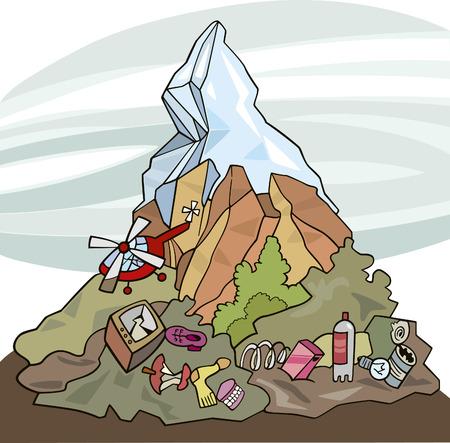 junkyard: environmental pollution Illustration
