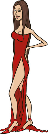 illustration of beautiful sexy woman in red dress