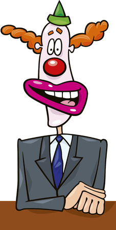 election debate: cartoon illustration of politician in clown mask giving a speech Illustration