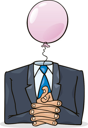 oration: politician with pink balloon instead of head Illustration
