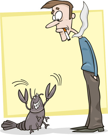 sneer: cartoon metaphor illustration of frightened smoker and cancer Illustration