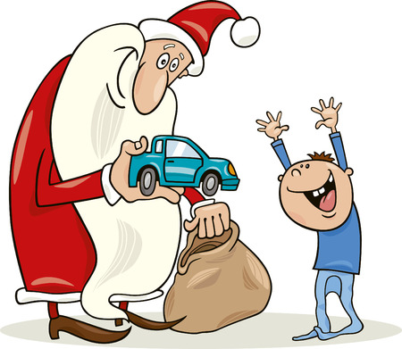 toy sack: santa claus giving toy car to happy little boy Illustration