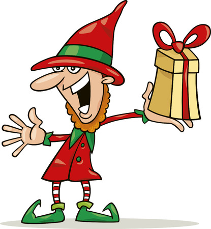 green elf: christmas elf with special gift
